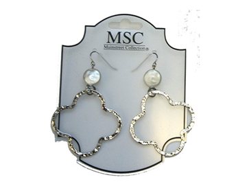 MAINSTREET COLLECTION SILVER QUATREFOIL EARRINGS