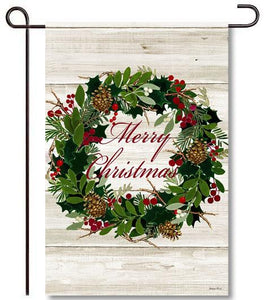 Evergreen Merry Christmas Wreath Suede Garden Flag