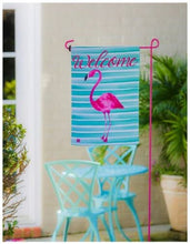 Load image into Gallery viewer, EVERGREEN FLAMINGO STRIPES GARDEN FLAG
