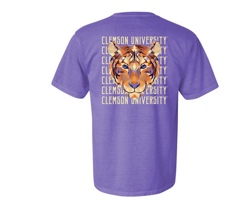 Tigertown Graphics Clemson University Geo Tiger Full Hearts T-shirt