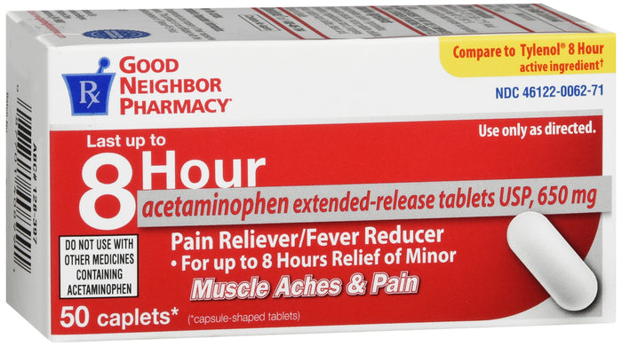 GOOD NEIGHBOR PHARMACY PAIN RELIEF 8 HR EXTENDED REFLIEF 650MG 50 CAPLETS