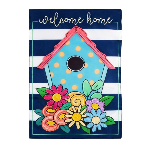 Evergreen Welcome Home Birdhouse Applique House Flag