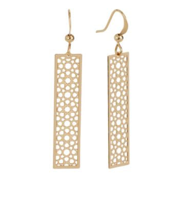 Whispers Gold Filigree Bar Dangle