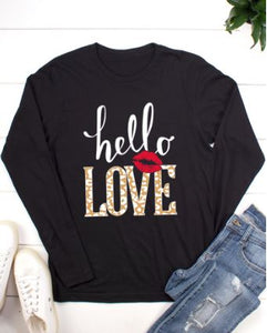 BELLA CLOSET HELLO LOVE LONG SLEEVE T-SHIRT