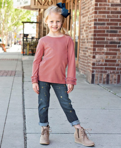 Ruffle Butts Toddler Wash Denim Hearts Jeggings