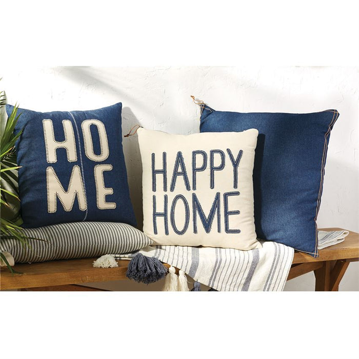 Mud Pie Happy Home Denim Pillow
