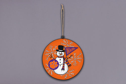 Magnolia Lane Clemson Snowman Metal Ornament