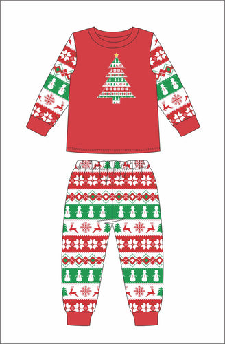 Jane Marie Kids Christmas Tree Stripe Pajamas