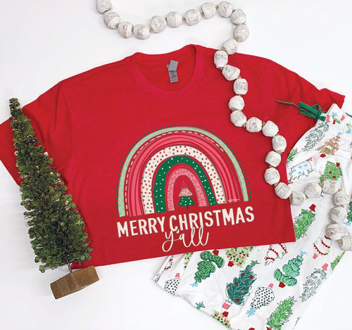 Southernology Merry Christmas Y'all Rainbow Statement Tee