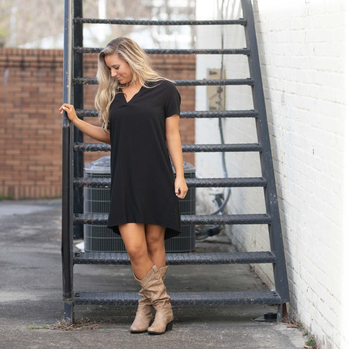 MARY SQUARE KRISTA BLACK DRESS