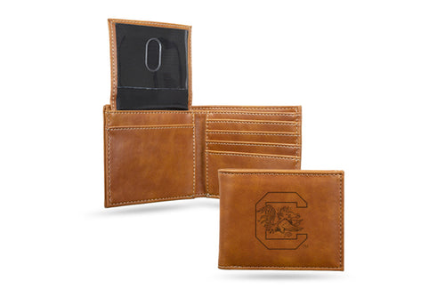 University of South Carolina Laser Engraved Brown Billfold Wallet