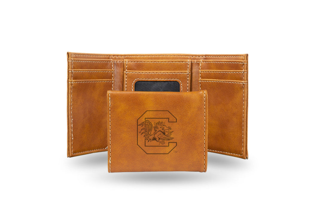 University of South Carolina Laser Engraved Brown Trifold Wallet