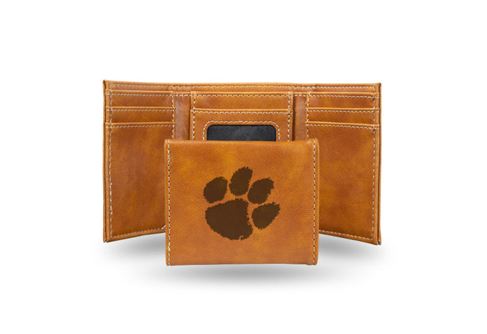 Clemson Laser Engraved Brown Trifold Wallet