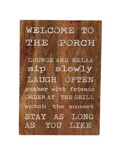 MUD PIE WELCOME TO THE PORCH PLAQUES