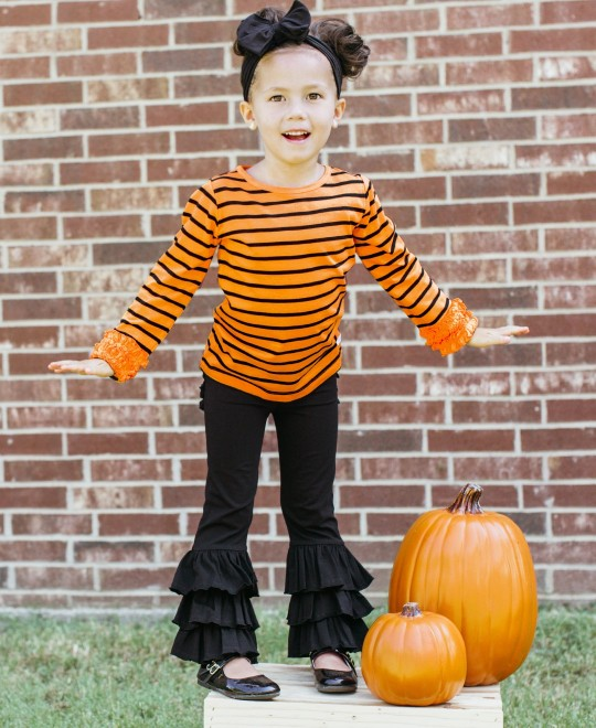 RuffleButts Orange & Black Stripe Ruffled Long Sleeve Layering Tee