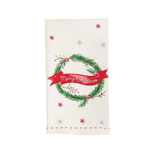Mud Pie Holiday Wreath Sequin T-Towel