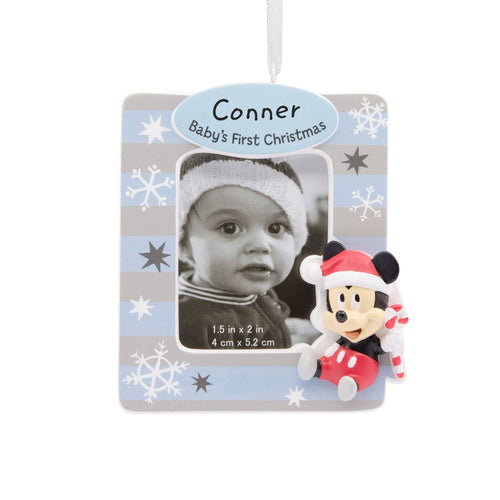 Hallmark Mickey Mouse Baby's First Christmas Personalized Photo Frame Ornament