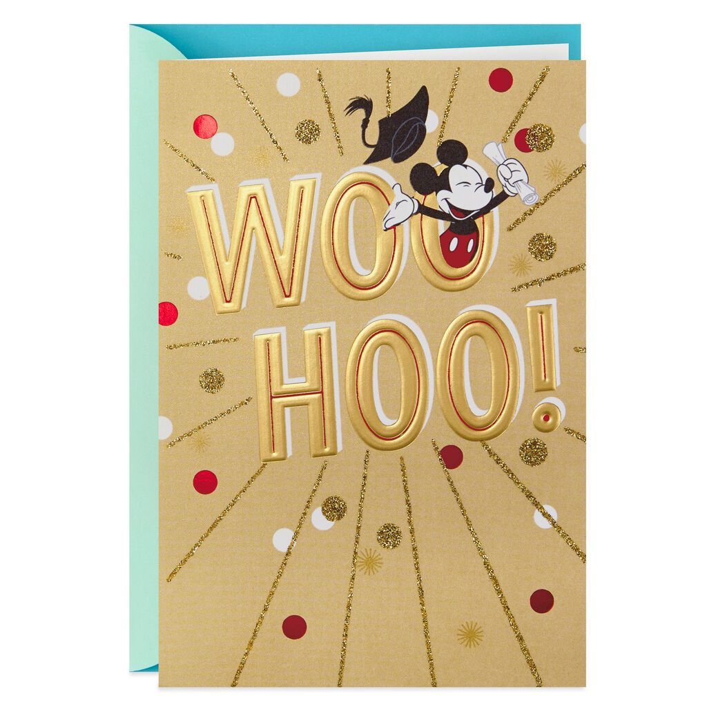 HALLMARK MICKEY MOUSE WOO HOO! GRADUATION CARD