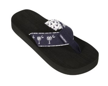 Tidewater Navy Palmetto Stripe Boardwalk Flip Flops
