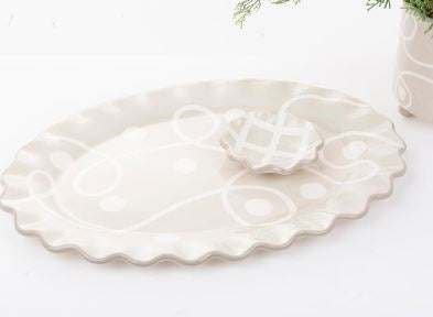 MAINSTREET COLLECTION TAUPE WHITE OVAL PLATTER