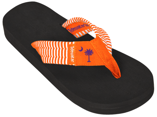 Tidewater Orange Palmetto Stripe Boardwalk Flip Flops