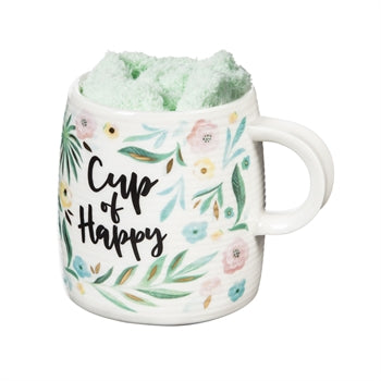 Evergreen Ceramic Cup and Sock Gift set, 12 OZ, Cup of Happy
