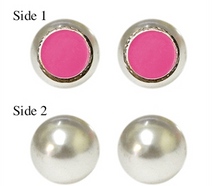 Load image into Gallery viewer, MAINSTREET COLLECTION ENAMEL REVERSIBLE PEARL EARRINGS