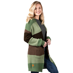 SIMPLY SOUTHERN COLLECTION CARDIGAN - GREEN AND BROWN