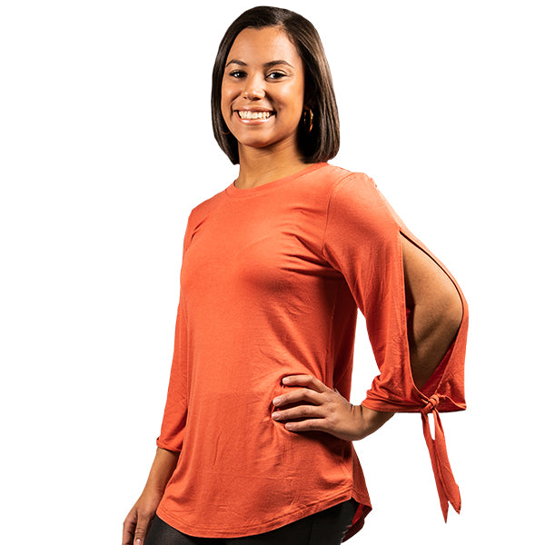 SIMPLY SOUTHERN COLLECTION - KNOT SLEEVE TOP - GINGER