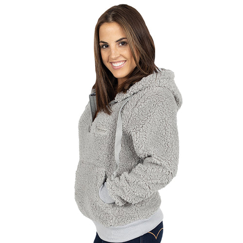SIMPLY SOUTHERN COLLECTION SHERPA HOODIE - HEATHER GREY
