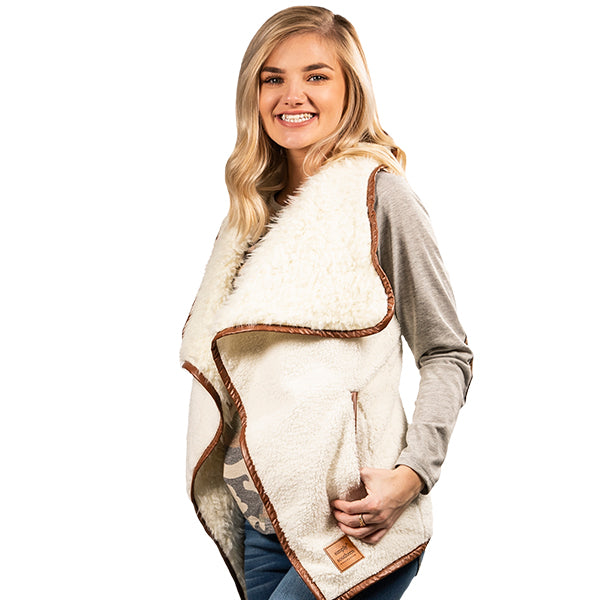 SIMPLY SOUTHERN COLLECTION SHERPA VEST - CREAM