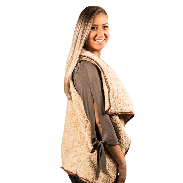 SIMPLY SOUTHERN COLLECTION SHERPA VEST - TAUPE