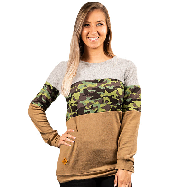 SIMPLY SOUTHERN COLLECTION STRIPE TOP - CAMO
