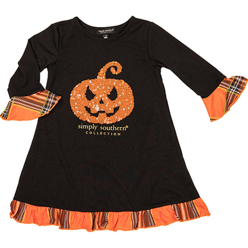 Simply Southern Collection Pumpkin Youth Ruffle Dress