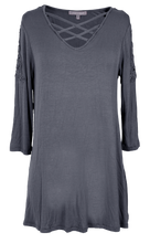 Load image into Gallery viewer, Simply Southern Dark Gray Lace Top
