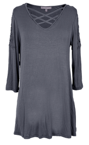 Simply Southern Dark Gray Lace Top