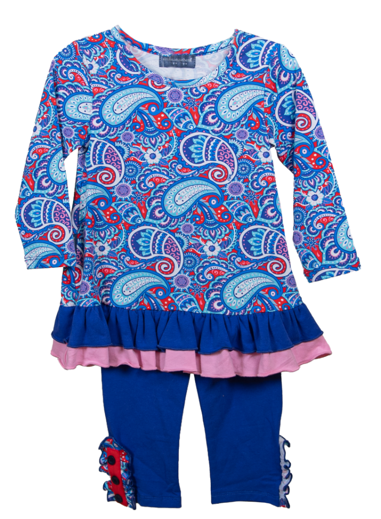 Simply Southern Collection Toddler Paisley Button Set