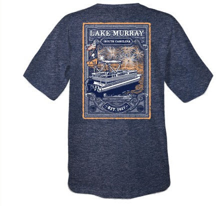 KOSS CUSTOM LAKE MURRAY BOAT WITH FIREWORKS T-SHIRT - HEATHER NAVY
