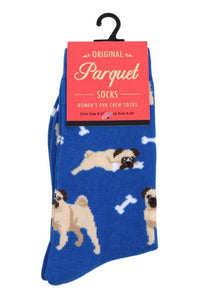 Parquet Ladies Pug Novelty Crew Socks