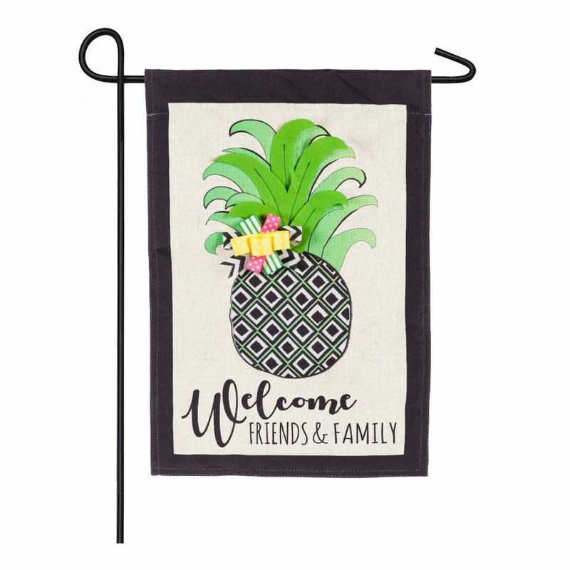 EVERGREEN PINEAPPLE WELCOME GARDEN FLAG