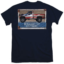 Load image into Gallery viewer, Straight Up Southern Rusted Patriotic Truck Short Sleeve T-shirt