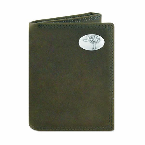 ZEP-PRO PALMETTO CRAZY HORSE CONCH LEATHER TRIFOLD