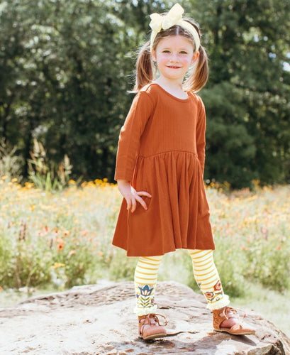 RuffleButts Orange Spice Ribbed Twirl Dress