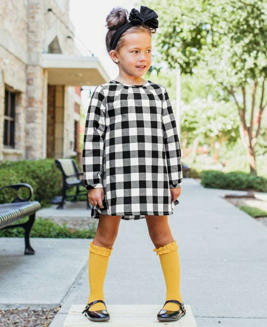 RuffleButts Black & White Plaid Button Back Dress