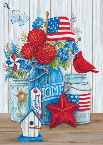 CUSTOM DECOR FARMHOUSE PATRIOTIC STILL LIFE HOUSE FLAG