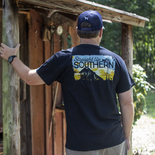STRAIGHT UP SOUTHERN SUNSET BARN SHORT SLEEVE T-SHIRT