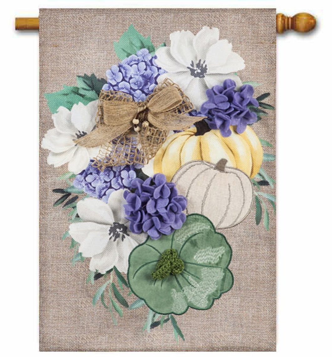 Evergreen Soft Autumn Floral House Flag