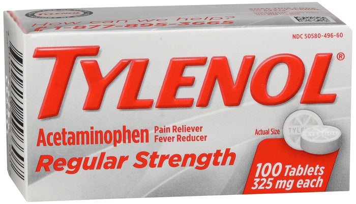 TYLENOL REGULAR STRENGTH TABLETS 325 MG 100 COUNT