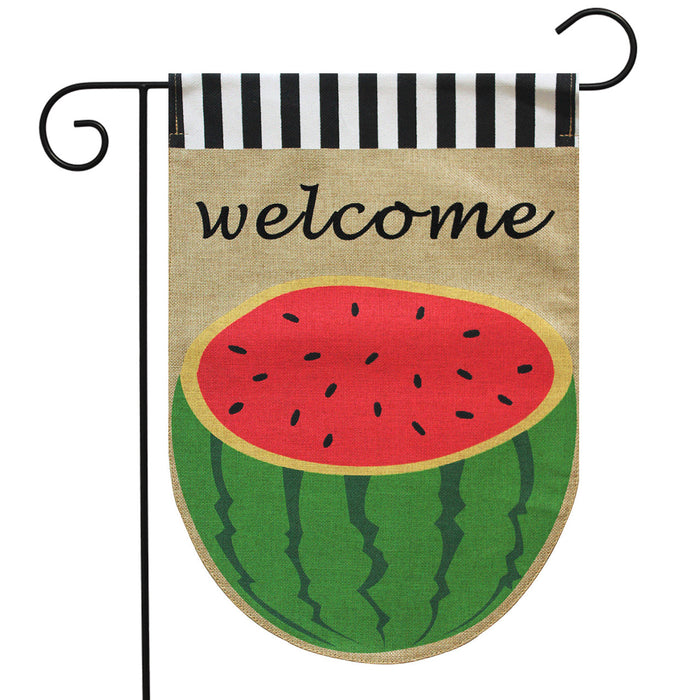 BRIARWOOD LANE WATERMELON BURLAP GARDEN FLAG