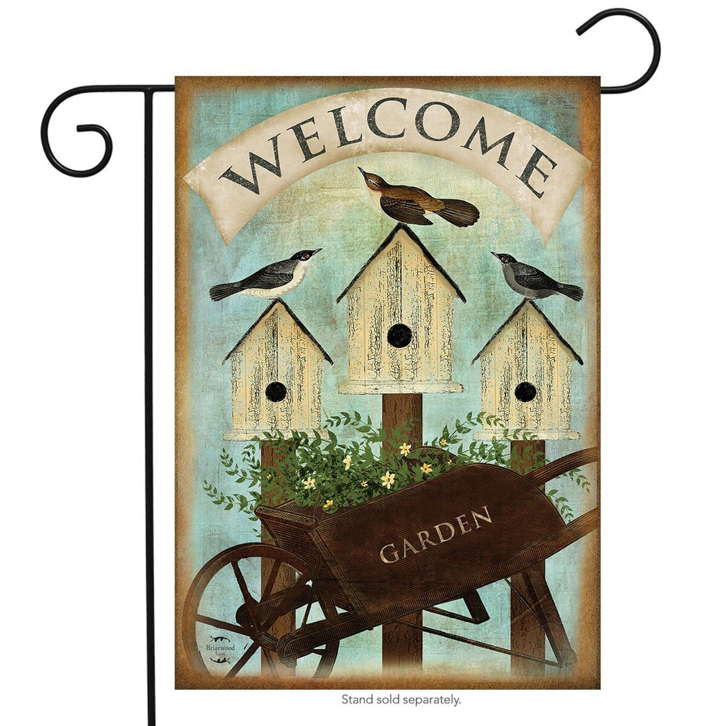 BRIARWOOD LANE WHEELBARROW WELCOME GARDEN FLAG